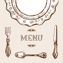 Menu Design With Sketchy Drawn...