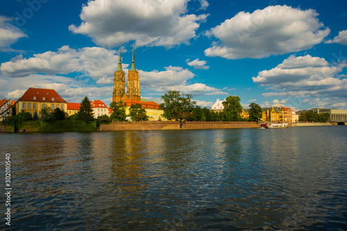 WROCLAW, POLAND: View of Tumski island -Cathedral Island and the Cathedral of St Wallpaper Mural