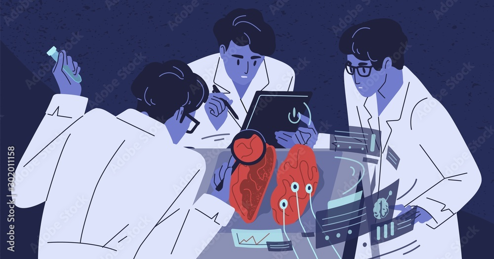 Fototapeta Human brain research flat vector illustration. Group of scientists studying body. Doctors in white coats. Medicine and science concept. Laboratory experiment. Nanotechnology, test, analysis.