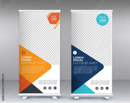 Fotografía  Modern Exhibition Advertising Trend Business Roll Up Banner Stand Poster Brochure flat design template creative concept