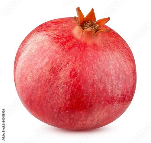 Obraz na plátně one ripe pomegranate fruit isolated on a white background