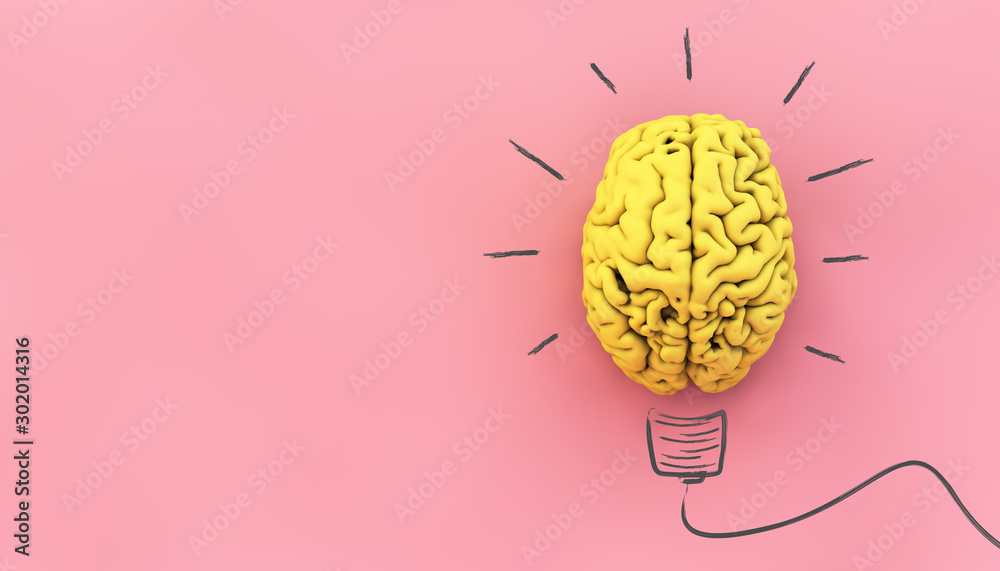 Fototapeta yellow brain on pink background