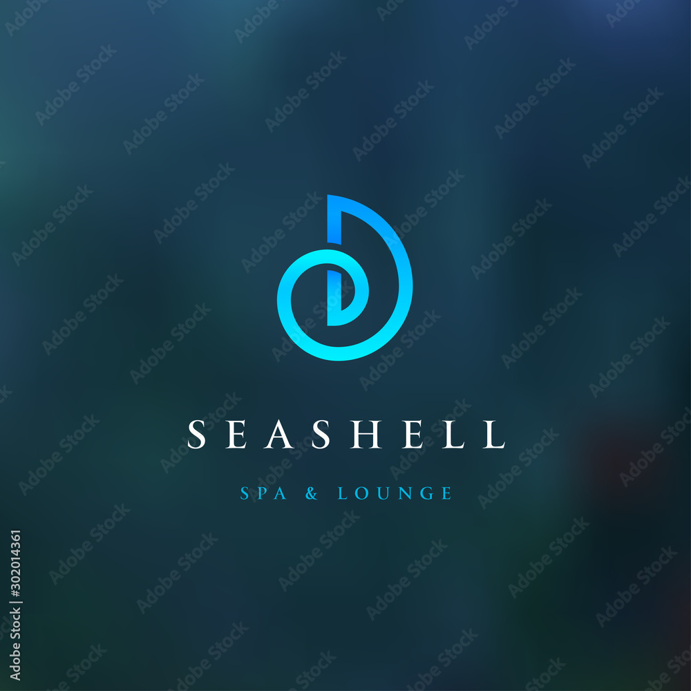 Fototapety, obrazy: Sea shell modern blue color logo for spa and lounge. Corporate identity branding design. Vector sign.