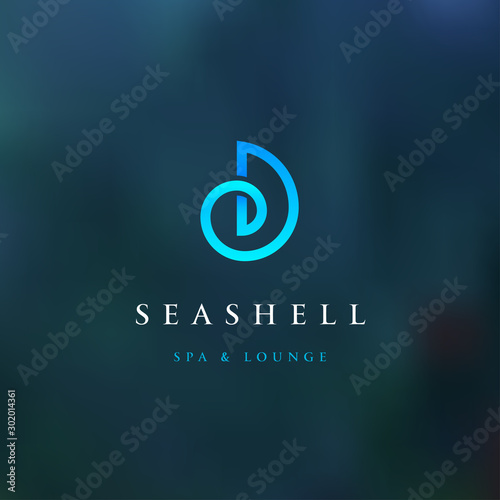Obraz Sea shell modern blue color logo for spa and lounge. Corporate identity branding design. Vector sign. - fototapety do salonu