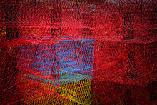 Bright Red And Blue Crab Traps