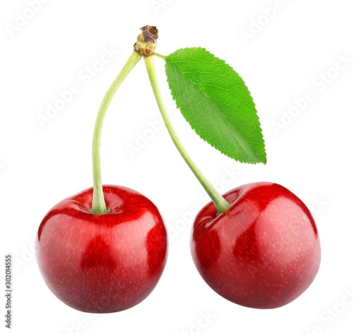 Fototapeta sweet cherry berry isolated on white background