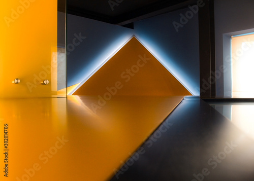 Fototapeta  Geometric architectural background in yellow and blue