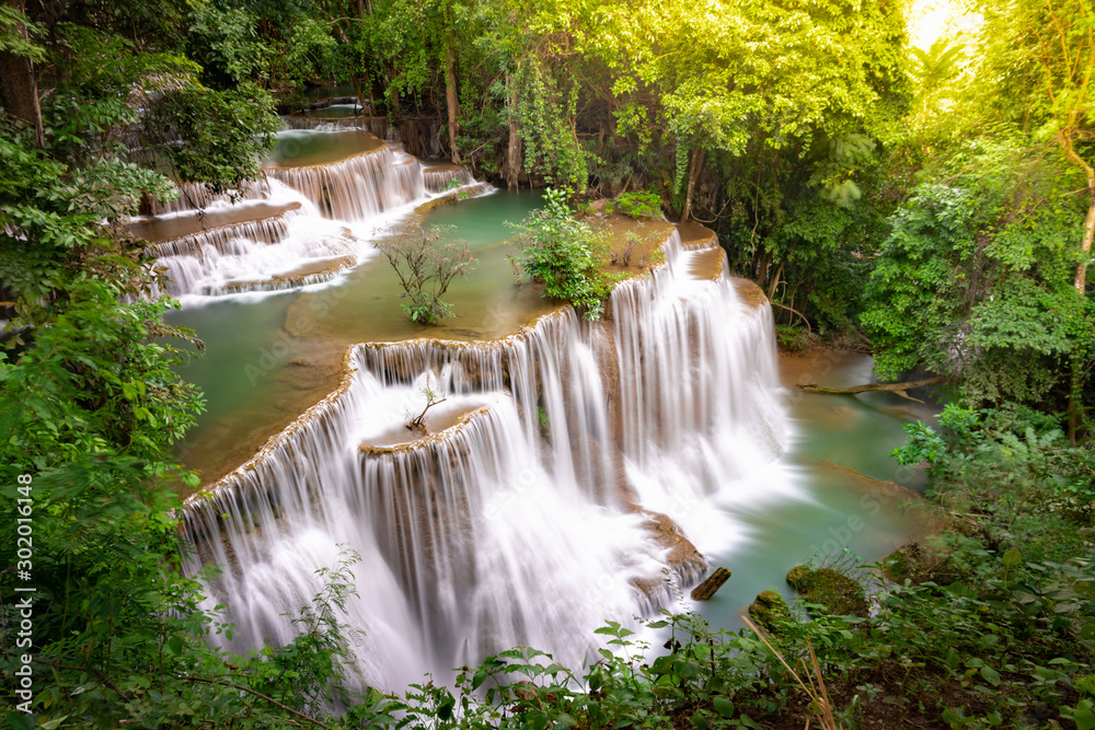 Fototapety, obrazy: Photo nature of huai mae khamin waterfall level 4 in khuean srinakarindra national park kanchanaburi, Thailand using as background or wallpaper concept.