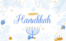 Happy Hanukkah Illustration, Jewish Festival Of Lights Traditional Holiday Background. Editable Vector Illustration.