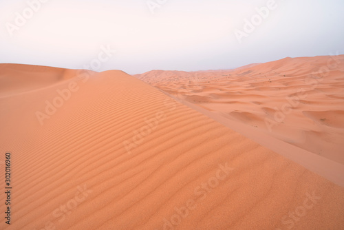 The beauty of the sand dunes in the Sahara Desert in Morocco Billede på lærred