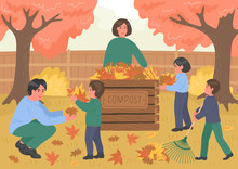 Composting. Autumn Clean Up. Large Happy Family Making Compost From Fallen Autumn Leaves Outdoors In The Garden. Recycling Concept.
