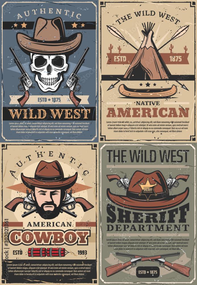 Fototapety, obrazy: Wild West cowboy, sheriff and skull with guns
