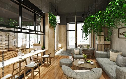 Fotografía  3d render of tea house and cafe