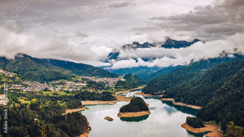 Panoramic view of lake of Centro Cadore in the Alps in Italy, Dolomites, near Belluno Canvas Print