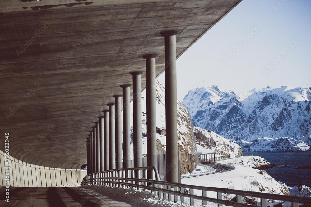 Fototapeta tunnel of the  norwegian mountains