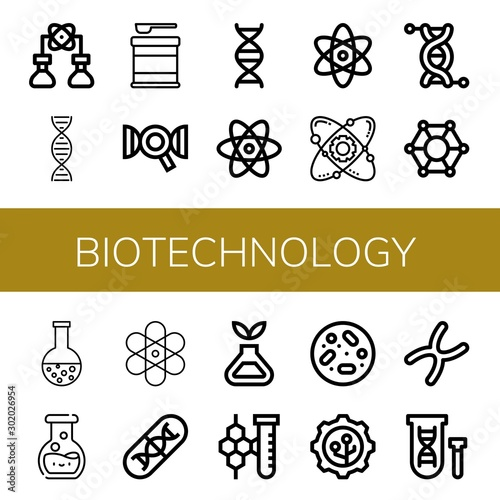 Set of biotechnology icons such as Bioengineering, Dna, Formula, Atom, Atomic, G Canvas Print