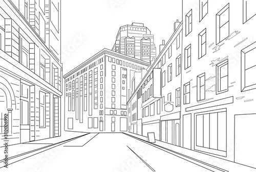 Photo  Outline sketch vector of an town city with signs and straight architecture