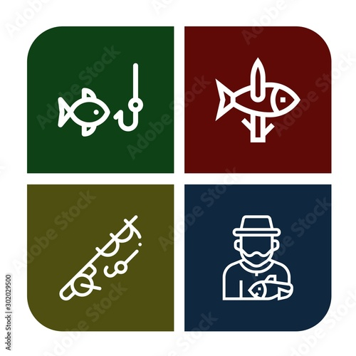 Fotografie, Tablou  Set of bobber icons such as Fishing, Fisherman , bobber