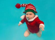 Caucasian Infant Underwater In...