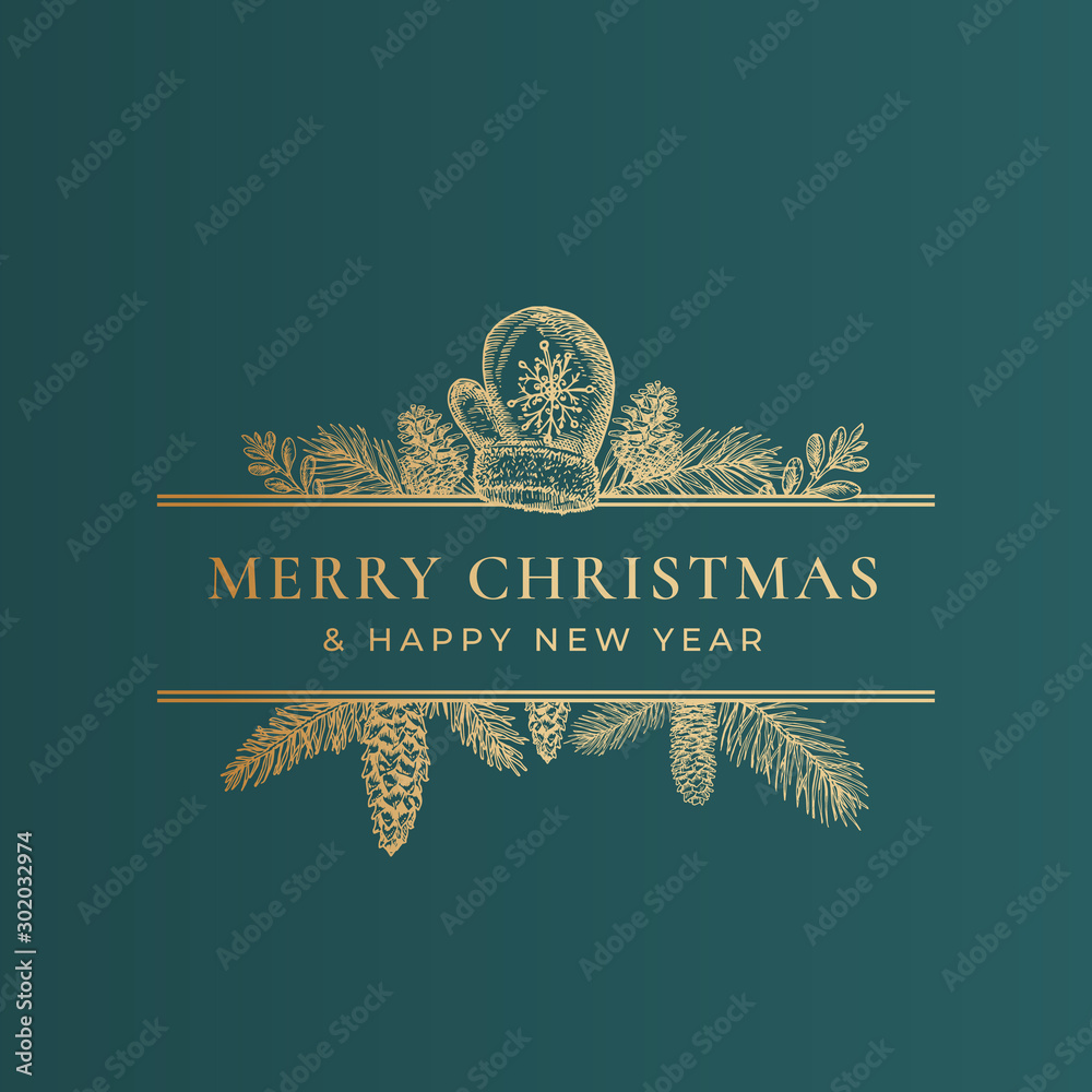 Fototapety, obrazy: Christmas Frame Banner with Vintage Typography and Hand Drawn Holiday Illustrations. Merry Christmas Greeting Card or Label. Cookie, Candy Cane and Glove with Pine Twigs. Golden on Green Background