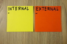 Internal And External Handwritten On Sticky Notes