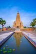 canvas print picture - Mahabodhi Temple or Bodh Gaya Pagoda at Wat-Panyanantaram  sunrise and beautiful sky, Wat Panyanantaram is famous pagoda and popular for traveler near bangkok at Pathum Thani, Thailand