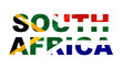"canvas print picture - ""South Africa"" Lettering Art over the South African Flag."