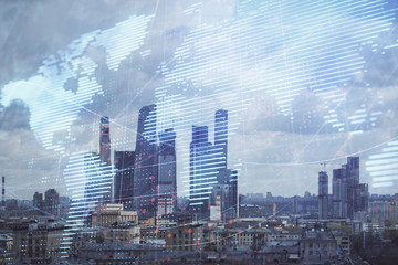 Fototapeta na wymiar Double exposure of world map on city veiw background. Concept of international trading