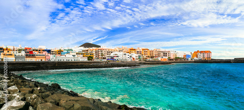 Tenerife travel - tranquil pictusresque coastal town Puertito de Guimar, Canary islands