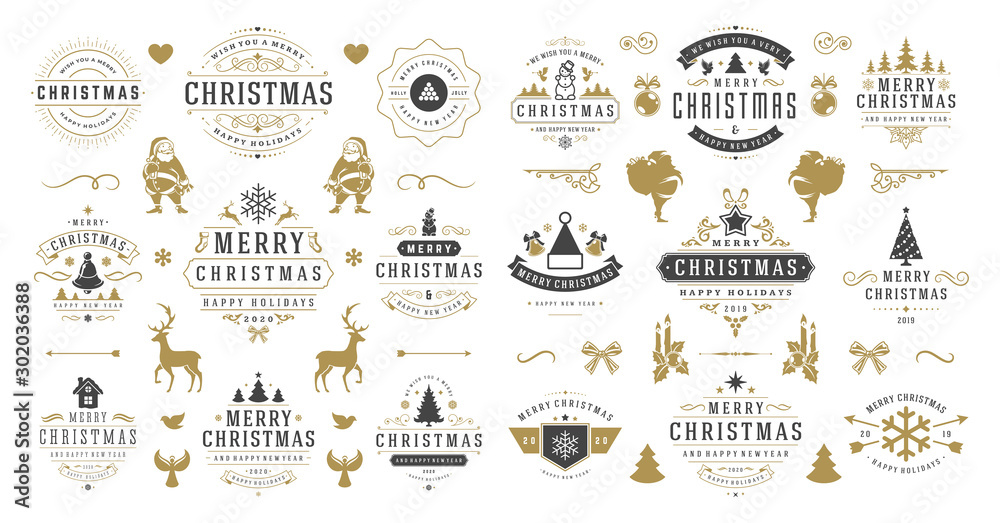 Fototapeta Christmas and happy new year wishes labels and badges set vector illustration