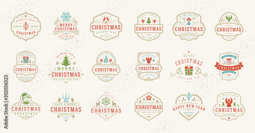 Photo  Christmas and happy new year wishes labels and badges set vector illustration