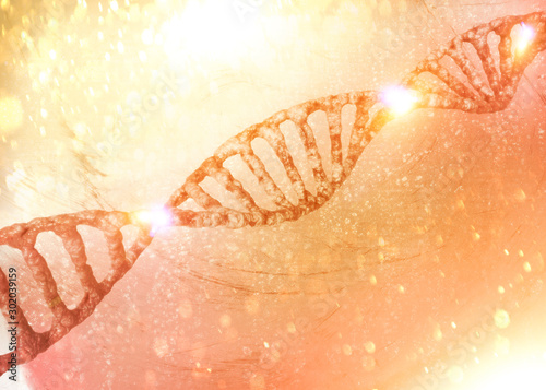 DNA helix, Deoxyribonucleic acid is a thread-like chain of nucleotides carrying the genetic instructions used in the growth, development of all known living organisms Wallpaper Mural