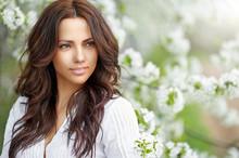 Beautiful Woman In Blooming Ga...