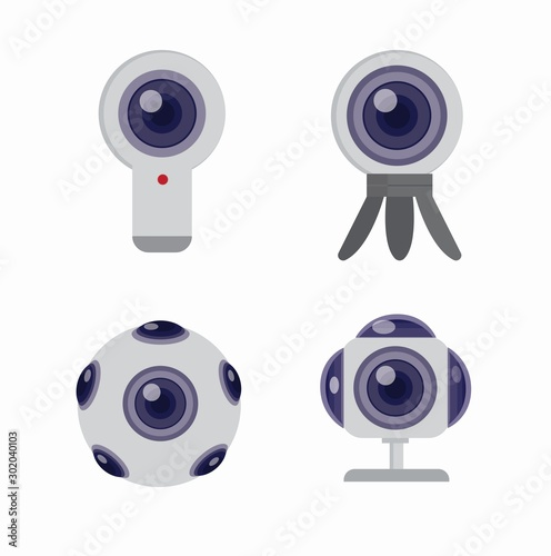 Cuadros en Lienzo  360 camera icon set flat illustration vector