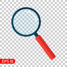 Search Icon. Magnifying Glass. Flat Style Loupe On Transparent Background