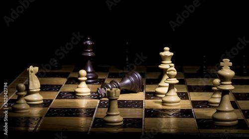Fotografija Scacchi fotografati su una scacchiera