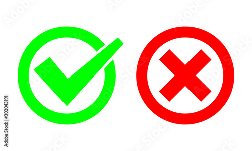 Fototapety, obrazy: Tick and cross signs. Green checkmark OK and red X icons. Simple marks graphic design. symbols YES and NO button for vote, decision, web. EPS 10