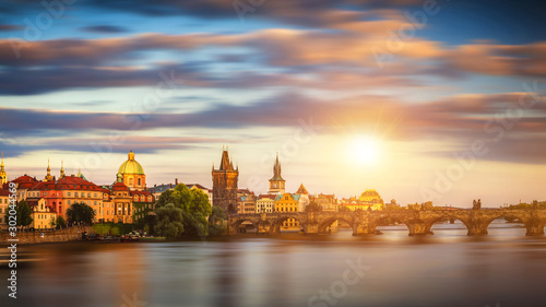 Deurstickers Oost Europa Charles Bridge (Karluv Most) and Lesser Town Tower, Prague in summer at sunset, Czech Republic
