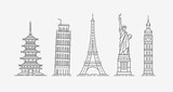 Fototapeta Wieża Eiffla - World architectural attractions. Travel icon set. Vector illustration