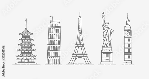 World architectural attractions. Travel icon set. Vector illustration
