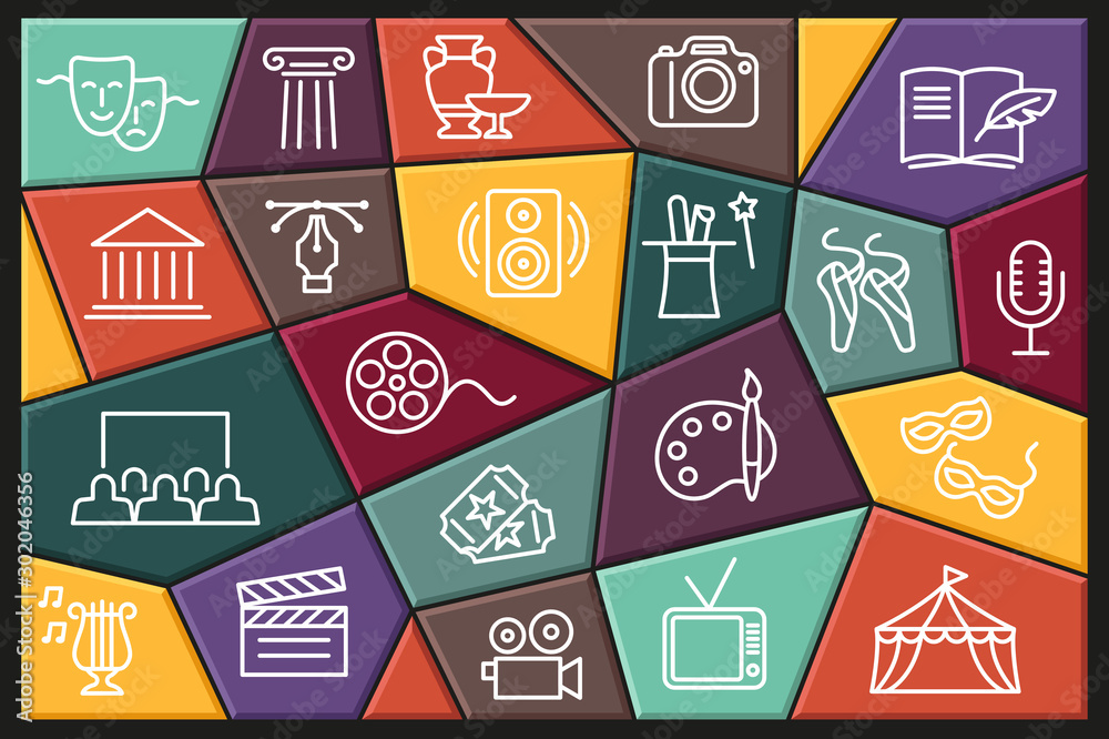 Fototapeta Arts and Entertainment icon set. Collection of vector icons with editable stroke