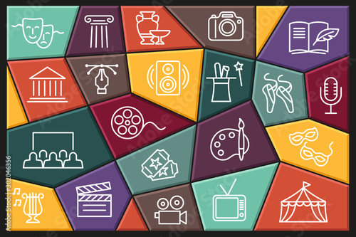 Fototapeta Arts and Entertainment icon set. Collection of vector icons with editable stroke obraz