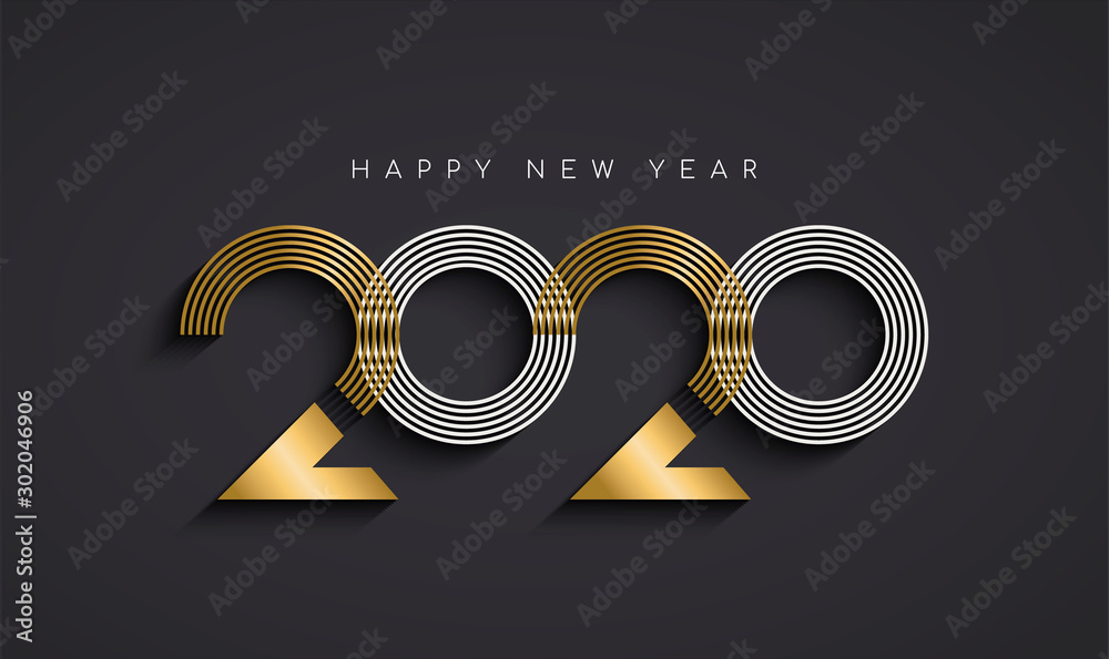 Fototapety, obrazy: New Year 2020 abstract number date gold card
