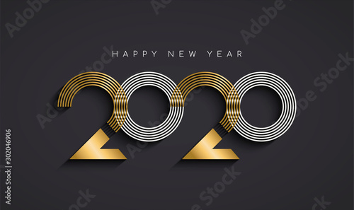 New Year 2020 abstract number date gold card - 302046906