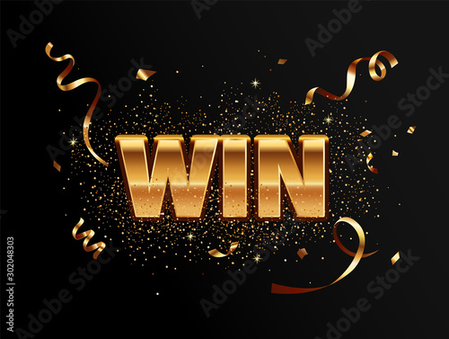Fotografía Golden win banner for winners of poker, cards, roulette and lottery