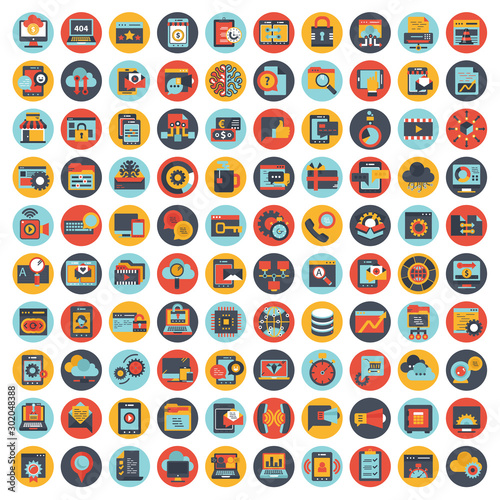 Cuadros en Lienzo  Set vector icons with elements for mobile concepts and web apps