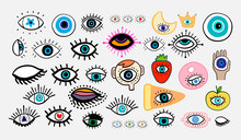 Big Eyes Set Different Forms Hand Drawn Vector Illustrations In Cartoon Comic Style
