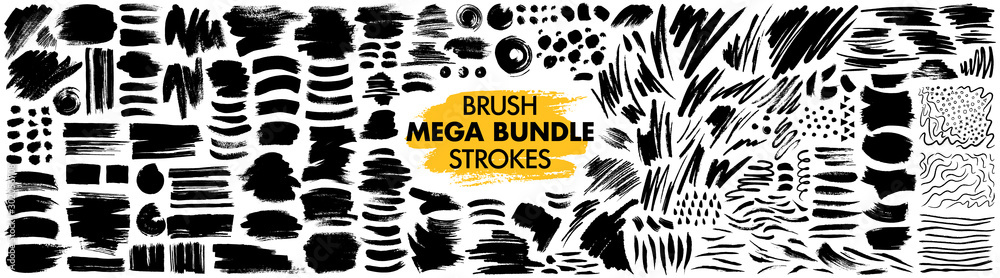 Fototapeta Mega bundle of different ink brush strokes:rectangle,square and round freehand drawings.Ink splatters,grungy painted lines,artistic design elements:waves,circles,triangles.Vector paintbrush set.