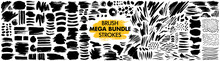 Mega Bundle Of Different Ink Brush Strokes:rectangle,square And Round Freehand Drawings.Ink Splatters,grungy Painted Lines,artistic Design Elements:waves,circles,triangles.Vector Paintbrush Set.