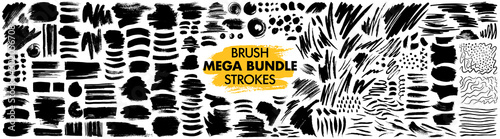 Fototapeta Mega bundle of different ink brush strokes:rectangle,square and round freehand drawings.Ink splatters,grungy painted lines,artistic design elements:waves,circles,triangles.Vector paintbrush set. obraz